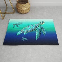 Sea Turtle Turquoise Oceanlife Rug