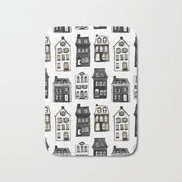 Mansard Mansions in Black + White Watercolor Bath Mat