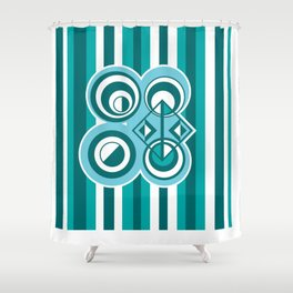 Striped Blue White and Teal Falling Eccentric Circles Abstract Art Shower Curtain
