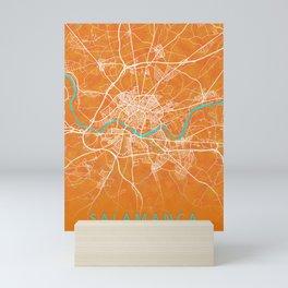 Salamanca, Spain, Gold, Blue, City, Map Mini Art Print