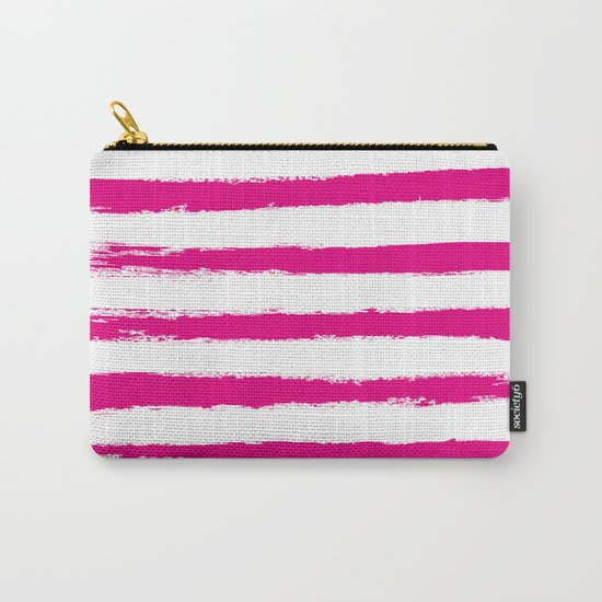 Pretty Pink STRIPES Handpainted Brushstrokes Carry-All Pouch