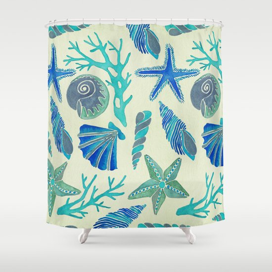 Blue Seashells Shower Curtain By Cat Coquillette Society6