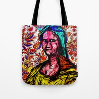 mona lisa Tote Bags featuring Mona Lisa by Alec Goss