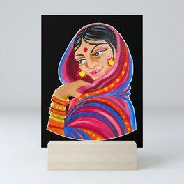 Indian Woman Folk Art Mini Art Print