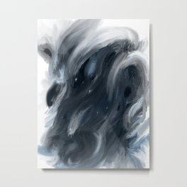 Blue Gray Swirl - abstract painting Metal Print