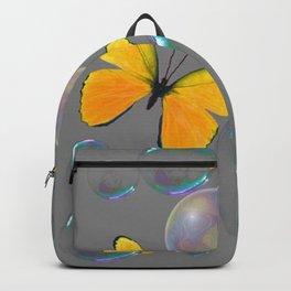 YELLOW BUTTERFLIES  & SOAP BUBBLES GREY COLOR DESIGN ART Backpack