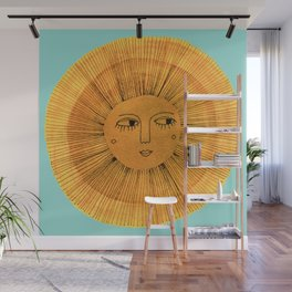 Sun Drawing Gold and Blue Wall Mural