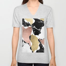 Modern white black marble rose gold foil color block handdrawn geometric lines Unisex V-Neck