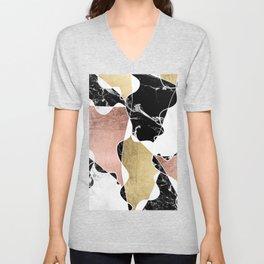 Modern white black marble rose gold foil color block handdrawn geometric lines Unisex V-Neck