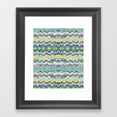 Teal Yellow White Midnight Aztec Framed Art Print