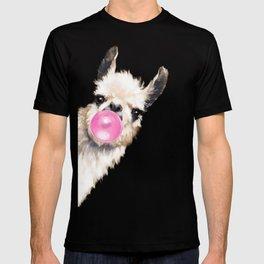 Bubble Gum Sneaky Llama T-shirt