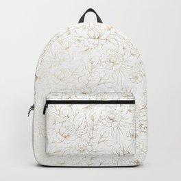 Elegant simple modern faux gold white floral Backpack