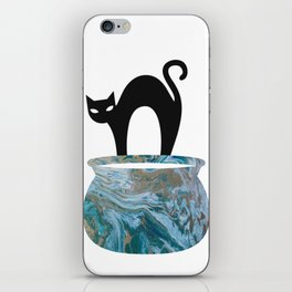 Black Cat In The Alley Throw Pillow iPhone Skin