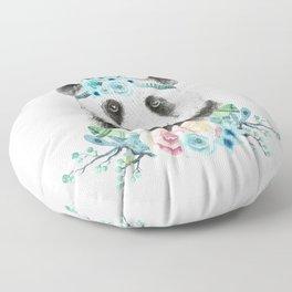 Watercolor Floral Spray Boho Panda Floor Pillow