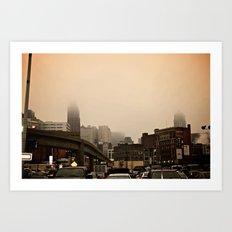 Foggy Detroit Art Print