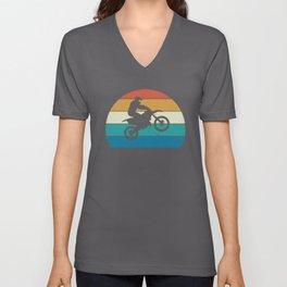 Motocross, Dirt Bike Rider, Striped Sunset Unisex V-Neck