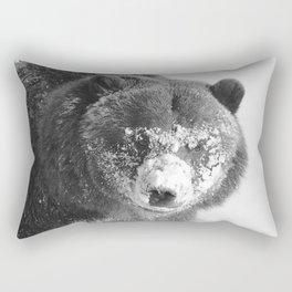 Alaskan Grizzly Bear in Snow, B & W - 3 Rectangular Pillow