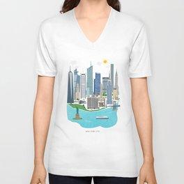 New York City Illustration Unisex V-Neck