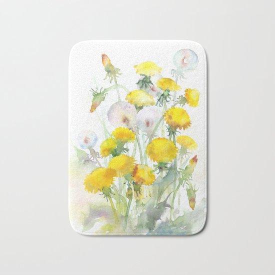 Watercolor yellow flowers dandelions Bath Mat