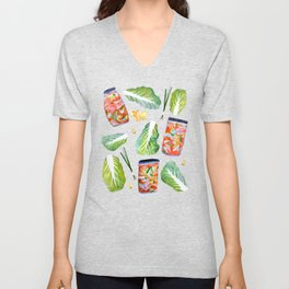 Kimchi Ingredients Spicy Fun Fermentation Watercolor Red Unisex V-Neck