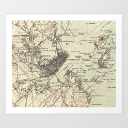 Vintage Map of Portland Maine (1914) Art Print