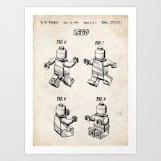 LEGO TOY 3D MINIFIGURE MINI FIGURE 1979 PATENT ART PRINT MOVIE POSTER GIFT Art Print