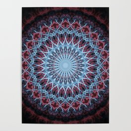 Detailed mandala in red and blue Poster