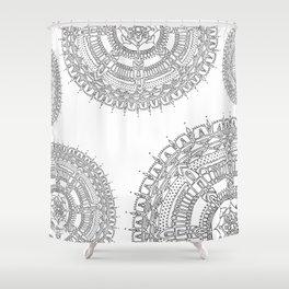 Exhilarating on White Background Shower Curtain