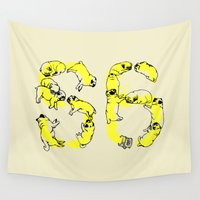 pugs Wall Tapestries featuring Pugs Prank by Huebucket