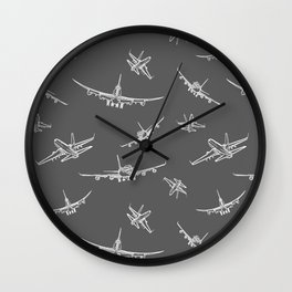 Airplanes on Dark Grey Wall Clock