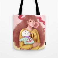 puppycat Tote Bags featuring Bee and Puppycat by MW Illustration