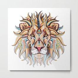 Ethnic Tribal Lion Doodle 03 Metal Print