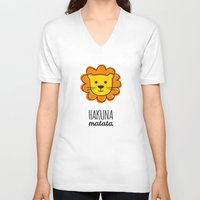 the lion king V-neck T-shirts featuring Lion & King by Jane Mathieu
