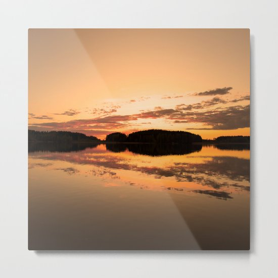 Beautiful sunset - glowing orange - forest silhouette and reflection Metal Print