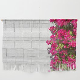 Bougainvilleas and White Brick Wall in Palm Springs, California Wall Hanging
