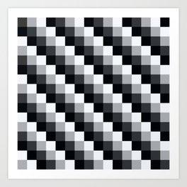 Black And White Geometric Checker Mosaic Pattern Art Print
