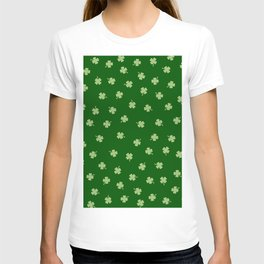 Green Shamrocks Green Background T-shirt