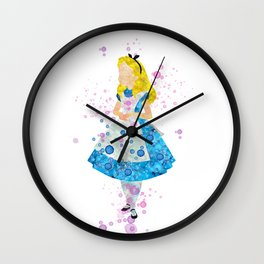 Alice In Wonderland Watercolor Wall Clock