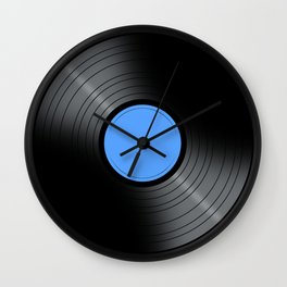 Music Record Blue Wall Clock