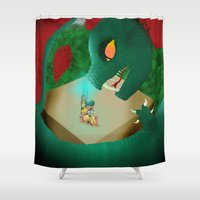 attack on titan Shower Curtains featuring Attack by mystmoon