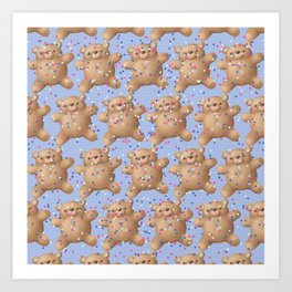 Teddy Bears Pattern (Colorful Stars) Art Print