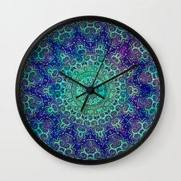 Aqua and Violet Mandala Lace Wall Clock