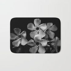Oleander flowers in black and white Bath Mat