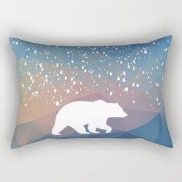 Beary Snowy in Blue Rectangular Pillow