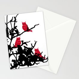 Red Owls Stationery Cards