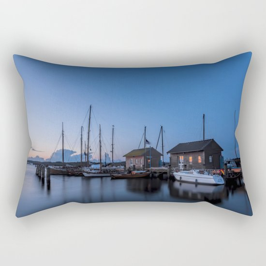 Blue hour at harbour I - Ocean Summer Night Boats- #Society6 Rectangular Pillow