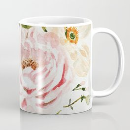 Loose Peonies & Poppies Floral Bouquet Coffee Mug