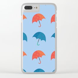 Red and Blue Umbrellas Repeating Pattern Adorable Spring Design Clear iPhone Case