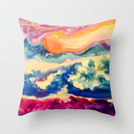 My Starry Watercolor Night Throw Pillow