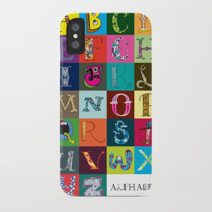 Hand Drawn Alphabet iPhone Case